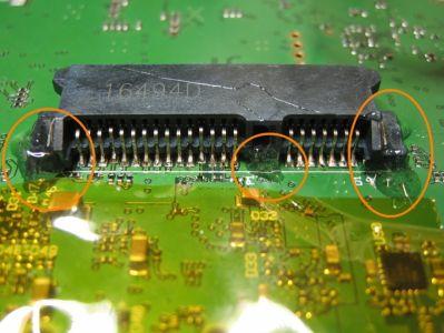 Mit Epoxydharz wurden die Buchse zusätzlich fixiert. Durch den SSD-Rahmen im Kameragehäuse wird die Belastung der Buchse zusätzlich reduziert.