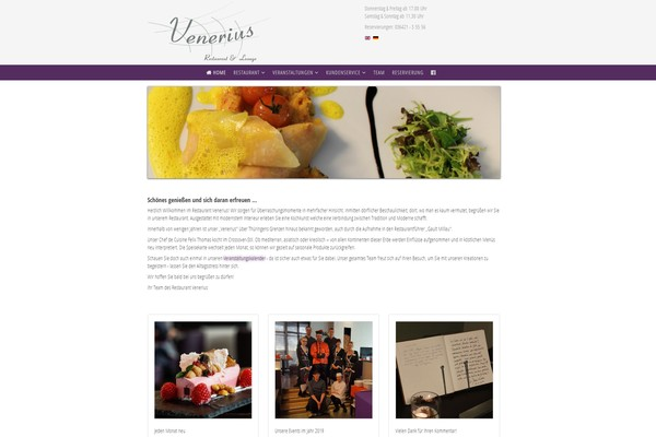 Website des Restaurant Venerius